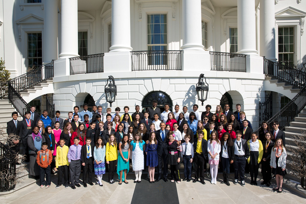 2015 White House Science Fair - Group photo with President