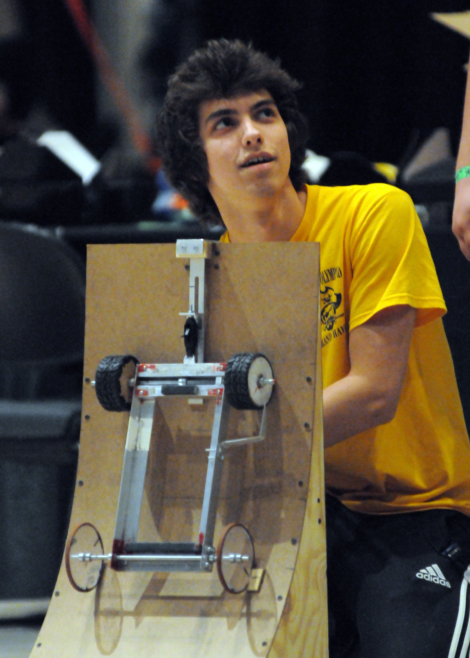 A student from Grand Haven HS in Michigan competes in Gravity Vehicle at the 2013 National Tournament