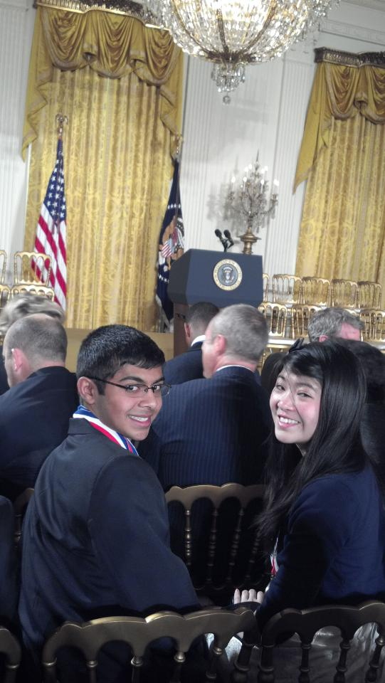 Stephanie and Achuth in the East Room waiting for POTUS